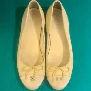 Classic Chanel Flat in Pale Yellow with White Toe